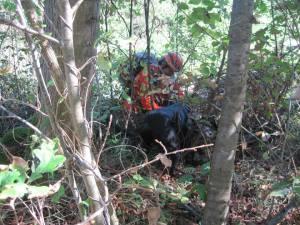 vodnik in pes pri najdeni osebi